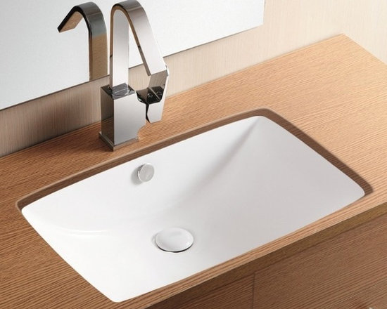 "Caracalla - Simple Rectangular Ceramic Under-Mount Bathroom Sink - White ceramic under-mount sink with curved basin designed in Italy by Caracalla. This contemporary rectangular sink comes with overflow but has no faucet holes. Sink dimensions: 23.23"" (width), 7.09"" (height), 15.35"" (depth)"