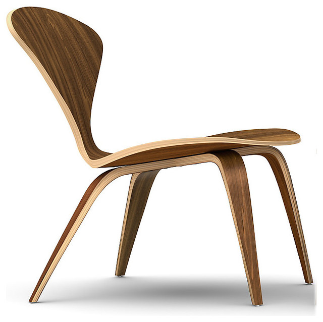 Cherner Lounge Chair With No Arms In Classic Walnut Midcentury Indoor Cha