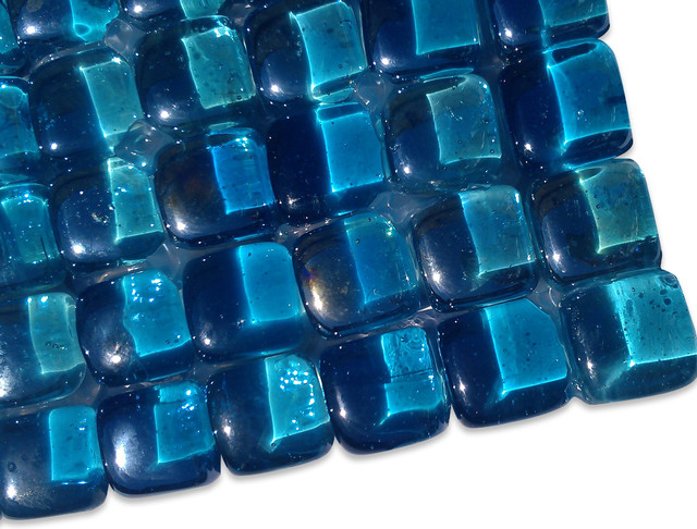 Sample-Gaby Azure Bubble Glass Tiles Sample - Traditional - Home Decor - by Glass Tile Store