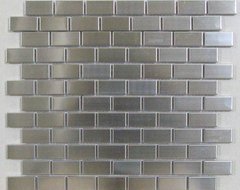 Silver Stainless Steel Tile Brick joint 1x2 contemporary-tile