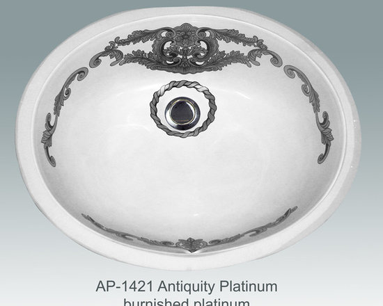 "Hand Painted Undermounts by Atlantis Porcelain - ""ANTIQUITY PLATINUM"" Shown on AP-1421 white Ovalyn undermount 17-1/2""x14-1/2"". This design is available in bright gold and bright platinum on any of our sinks. You can customize the finish to match your specific décor."