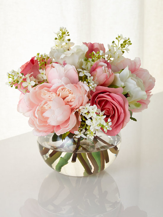 """John-Richard Collection - First Blush Faux Floral - MULTI COLORS - John-Richard CollectionFirst Blush Faux FloralDetailsHandcrafted nosegay arrangement of roses peonies and lilac sprays.Polyester silk floral stems.Glass container.12""""Dia. x 9""""T.Imported.Designer About the John-Richard CollectionFounded in 1980 in Greenwood Mississippi the John-Richard Collection is known for a strong design staff that travels the world for inspiration. Channeling cultural and historical influences the company creates distinctive artisan-crafted furniture lighting wall art mirrors and decorative accessories that make a lasting impression. What's more an eye for future trends in luxury home furnishing sets the John-Richard Collection apart. They skillfully blend the best of what is new in home fashion with the great designs of the past resulting in updated designs that fit perfectly with an array of styles."""