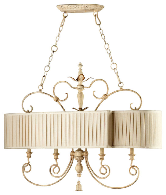 Maison French Country Antique White 4 Light Island Chandelier transitional-chandeliers
