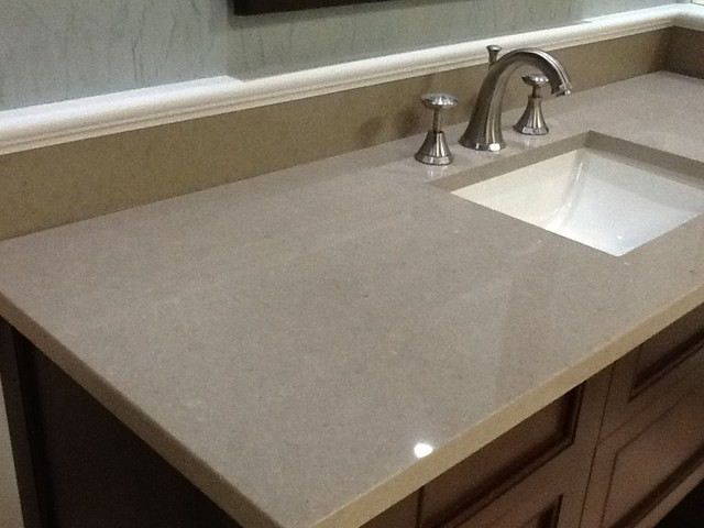 Pompeii quartz taupe kitchen countertops other metro by umi