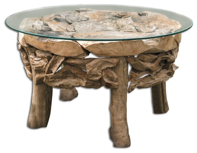 Teak Root Round Coffee Table Rustic Coffee Tables By Uttermost