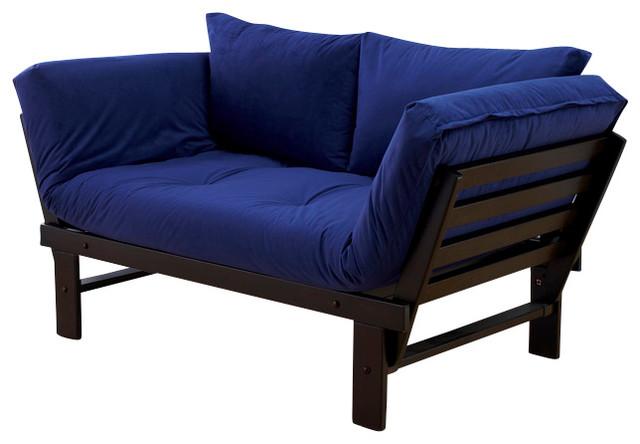 Elite Espresso Futon Lounger in Posh Blue, Futon Set Without Drawer transitional-furniture