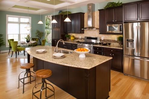 Contemporary Dark Cabinet Kitchen With Granite Countertops Light