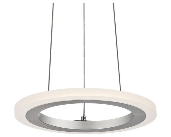 """Possini Euro Design - Possini Euro Kantros 10 1/2""""W LED Frosted Acrylic Pendant - Contemporary LED pendant light. Chrome finish. Frosted acrylic. From Possini Euro Design. With 7 watt LED light source. Measures 10 1/2"""" wide 5"""" high.  Kantros contemporary LED pendant light.  From Possini Euro Design.  Non-dimmable.  7 watt built-in LED light source.  Frosted acrylic diffuser.  Light output is 630 lumens.  Comparable to a 50 watt incandescent bulb.  2700K color temperature.  CRI is 80.  Chrome finish.  10 1/2"""" wide.  .85"""" high.  Canopy is 5"""" wide 3"""" high.  Hang weight is 3.5 pounds.  Adjustable hang height is 90"""" high."""