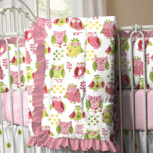 Girly owl crib comforter with ruffle traditional baby bedding
