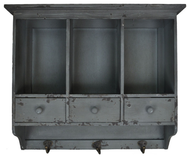 Distressed Wooden Hanging 3 Section Wall Cabinet, Shabby