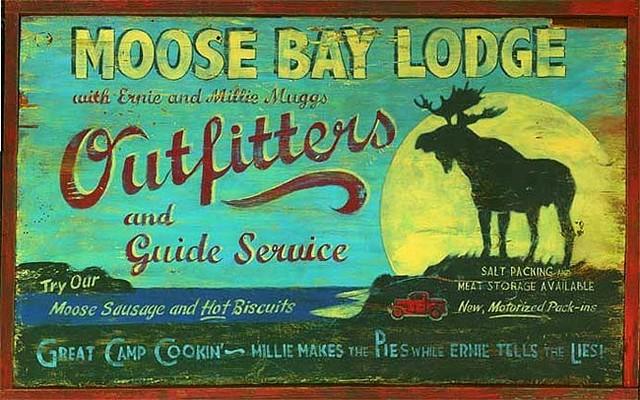 Moose bay lodge large vintage wooden sign rustic for Vintage fishing signs