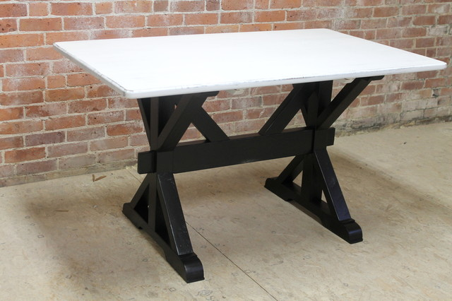 Black And White Reclaimed Wood Table With X-Base