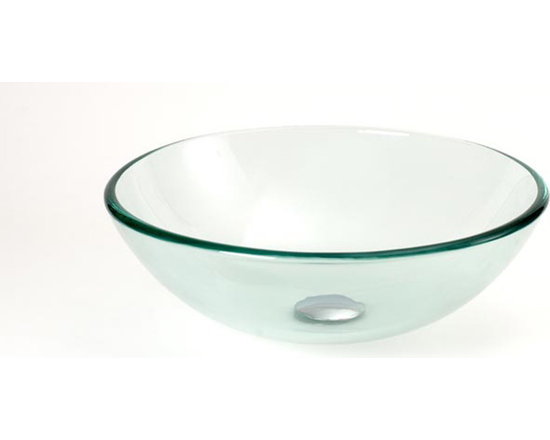 DreamLine DLBG-08 Round Glass Vessel Sink Clear - DreamLine DLBG-08 Round Glass Vessel Sink Clear