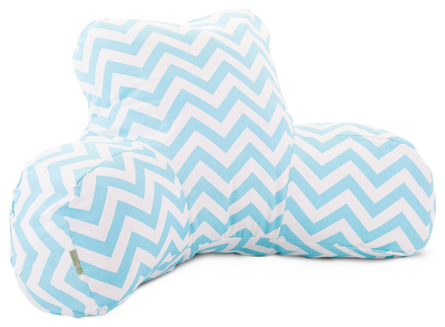 Indoor Tiffany Blue Chevron Reading Pillow - Modern - Decorative Pillows - by Majestic Home Goods