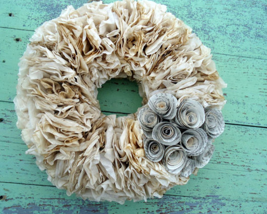 Coffee Dyed Paper Wreath with Book Page Flowers - Coffee-dyed coffee filter wreath with book page flowers