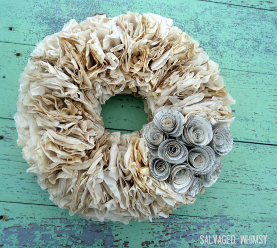 Coffee Dyed Paper Wreath with Book Page Flowers  accessories and decor
