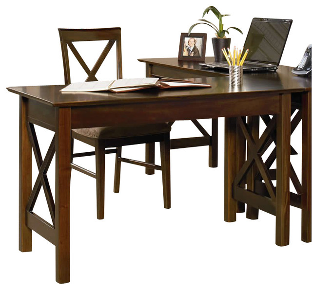 Atlantic Furniture Lexington Work Table in Antique Walnut transitional-desks-and-hutches