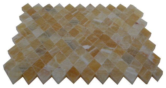 Honey Polished Diamond Pattern Mesh-Mounted Onyx Tile modern-wall-and-floor-tile