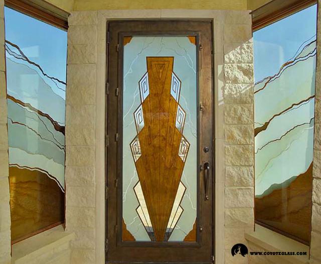 Art deco southwest door front doors austin by glass for Art deco interior doors home