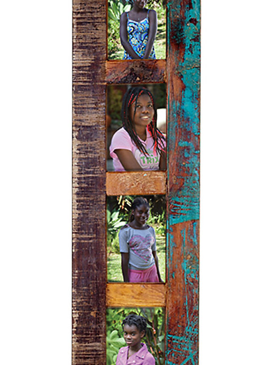 4 Photo Frame - This rustic 4-Photo Frame is finished in a warm brown and accented with highly distressed paint in a range of colors. Hang it vertically, this photo frame is a wonderful way to create a striking display in your hallway or family room.