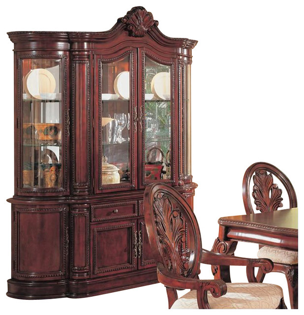 Coaster Tabitha Traditional China Cabinet in Cherry Finish - Traditional - China Cabinets And ...