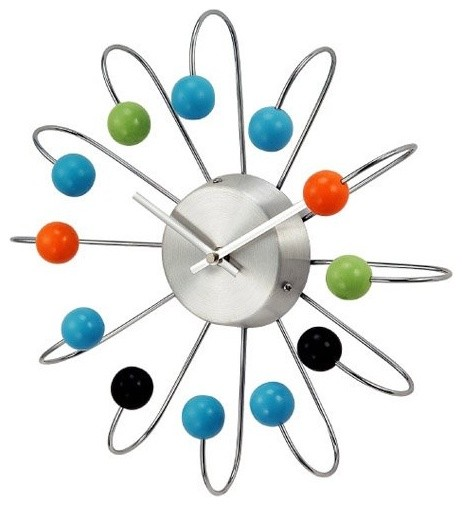 What We Like About This Wall ClockLike wood planets dancing around a metallic su modern-clocks