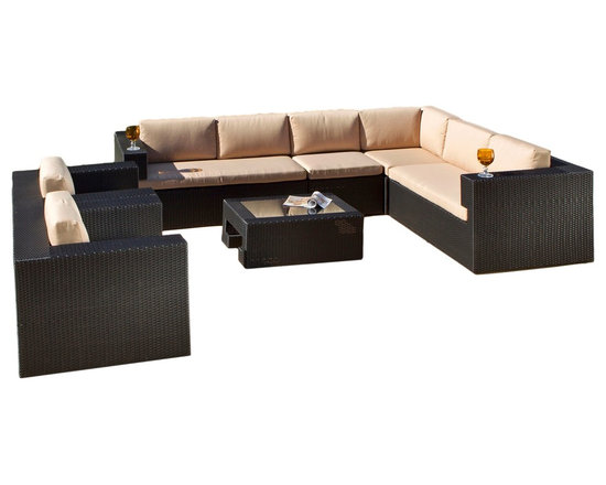 Great Deal Furniture - Oasis 7-Piece Outdoor Wicker Seating Sofa Set - Outfit your entire patio in luxe, well-crafted seating with this seven piece outdoor furniture set. The glass topped table is a chic addition to the comfortably cushioned seating, and all of the pieces come in durable, all-weather wicker over a sturdy aluminum frame. The club chairs are a perfect match to the sectional sofa, all of which have weather-resistant Sunbrella off-white cushions for opulent lounging.