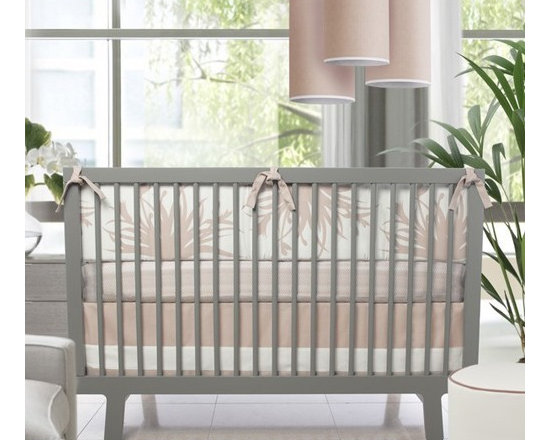 Oilo - Oilo | Freesia 3-Piece Crib Set - Made in the U.S.A. by Oilo.With its subtle, light pink pattern, the Freesia 3-Piece Crib Set is a great match for many nursery rooms. This three piece crib set includes a 1-inch, soft foam bumper, a woven cotton tailored bed skirt, and a 100% cotton sateen fitted crib sheet. Easy to care for, the bumper features a removable slip cover for easy cleaning, so you can spend more time playing with your baby. Product Features: