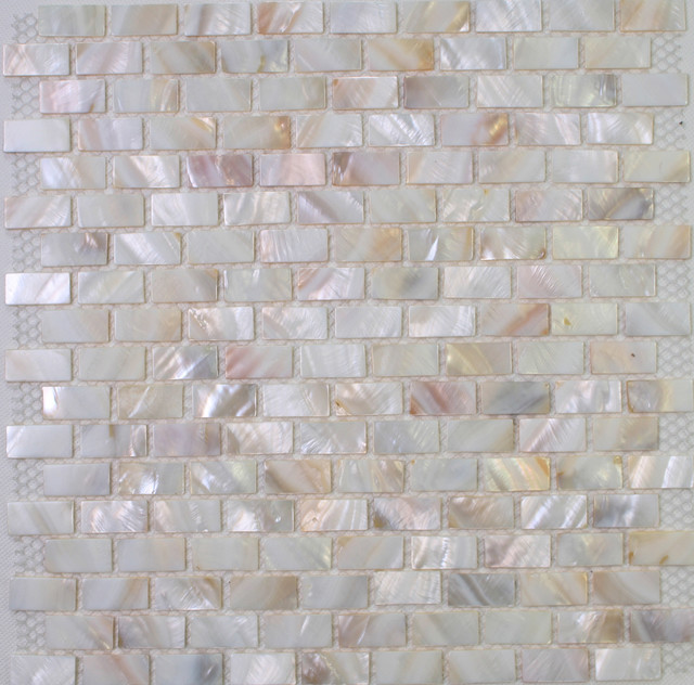 White mother of pearl tiles MOP shell Tiles in brick design