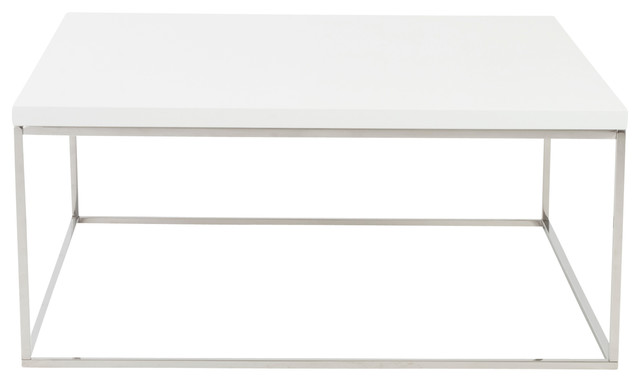 Teresa Square Coffee Table - White Lacquer/Polished Stainless Steel modern-coffee-tables