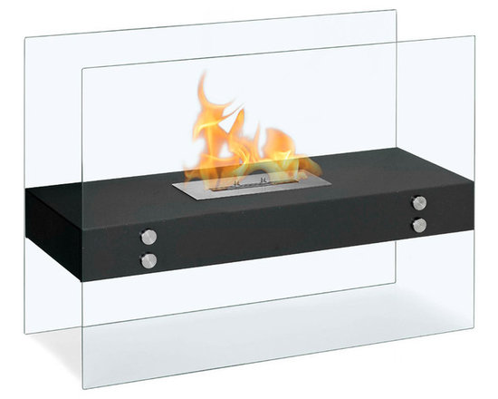 Moda Flame - Avila Contemporary Indoor Outdoor Ethanol Fireplace - Black - The Avila modern fireplace is comprised of a steel shelf, sitting comfortably on two vertically mounted glass walls. Perfect for any indoor or outdoor setting.