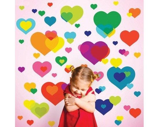 Wallcandy Arts Overlapping Heart Wall Stickers - Wallcandy Arts Overlapping Heart Wall Stickers