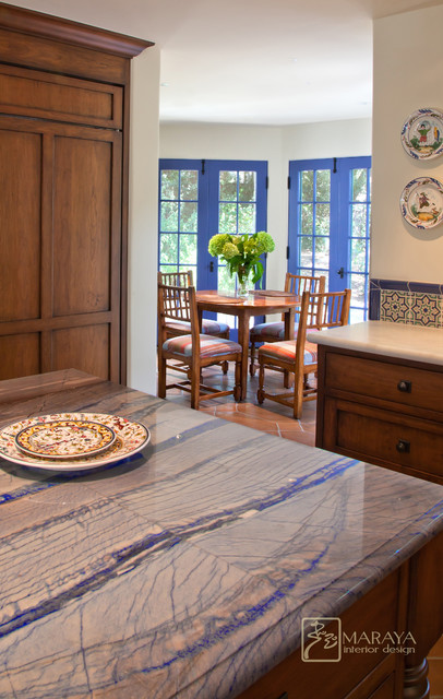 California mission style blue kitchen mediterranean for California style kitchen