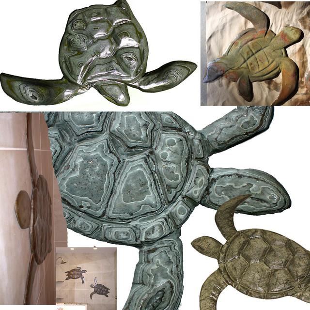 D hand carved stone hawaiian sea turtles home decor