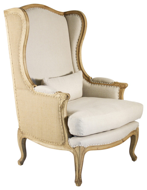 Leon French Country High Back Linen Wing Chair Farmhouse