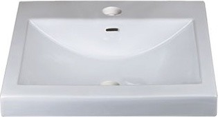 Ronbow Rectangle Ceramic Semi Recessed Vessel Sink contemporary-bathroom-sinks