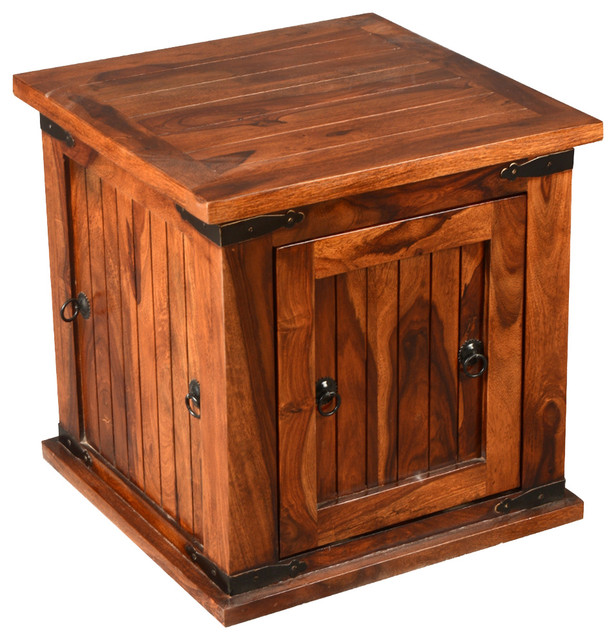 Solid wood square storage box trunk end table rustic for Rustic wood accent tables