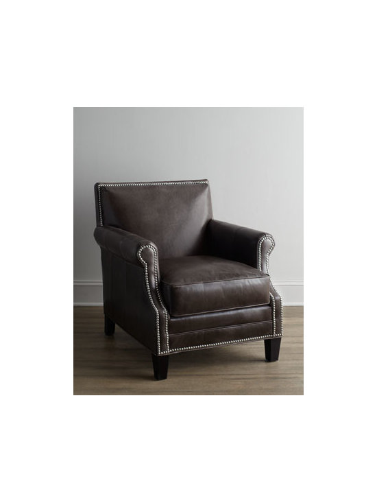 """Horchow - Grand Turk Leather Chair - Sturdy, no-nonsense chair gets the royal treatment with distinctive nailhead trim outlining the the arms, apron, and back. Engineered hardwood frame. Analine-dyed leather upholstery. Mortise-and-tenon frame construction. 29""""W x 35""""D x 33""""T. Handcra..."""