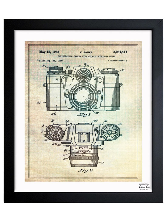 """The Oliver Gal Artist Co. - ''Sauer Camera 1962' Framed Art - Exclusive blueprints inspired by real vintage patent drawings & illustrations. Handcrafted in the Oliver Gal Artist Co. Studios in Miami, Florida. Produced on matte proofing paper and hand framed by professional framers in a 1.2"""" premium black wood frame. Perfect for any interior design project, gifts, office décor, or to add special value to one of your favorite collections."""
