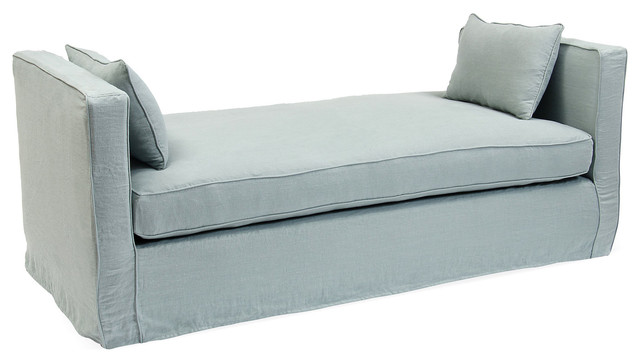 Reed linen daybed blue belle contemporary indoor for Blue chaise lounge indoor