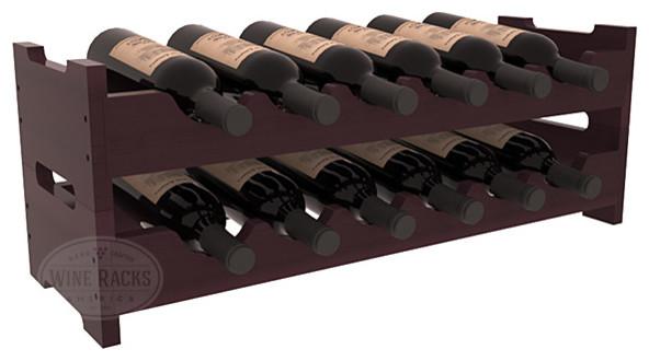 12 Bottle Mini Scalloped Wine Rack in Redwood with Burgundy Stain + Satin Finish modern-wine-racks