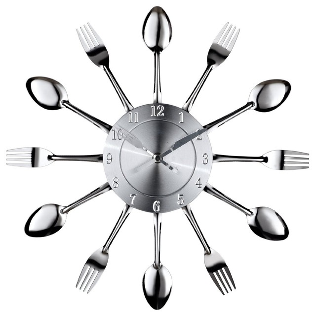 LexMod Fork and Spoon Dining Wall Clock eclectic clocks