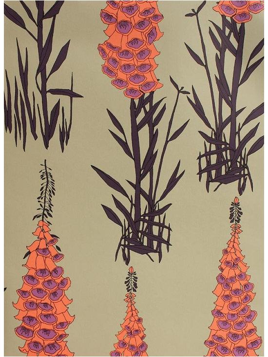 Foxglove Wallpaper, Orange and Purple -