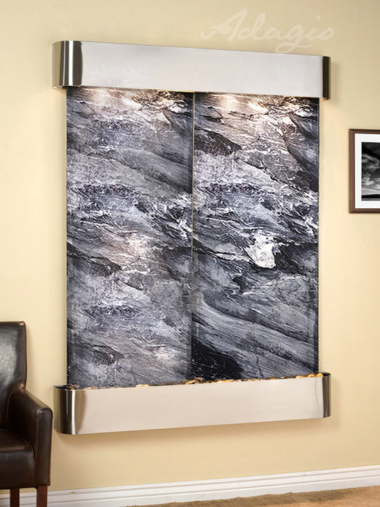 The Majestic Falls Wall Water Feature - The Majestic River Indoor Wall Fountain is perfect for any space, bringing peace and tranquility to any room while your guests are left to admire. The Majestic Rivers Wall Fountain is one of our most popular large wall mounted water features. Unlike our Cottonwood Falls, which also features a dual paneled face, this fountain does not have a gap between the stones making it the ideal choice for anyone interested in adding a custom etched logo. The two pieces of trim, or treys, can be finished with one of the three beautiful powder coat choices.