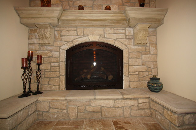 cast stone fireplace - traditional - indoor fireplaces - cleveland