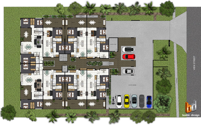 2d colour floor plans modern site and landscape plan for Modern site plan