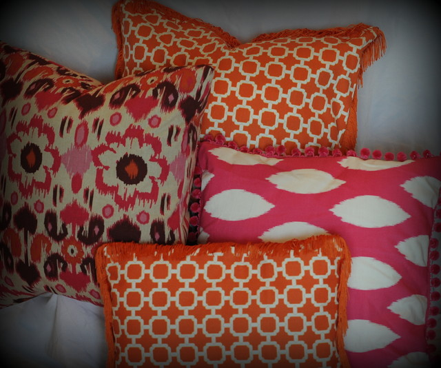 Hot Pink And Orange Throw Pillows : Hot pink and orange ikat pillows - Modern - Decorative Pillows