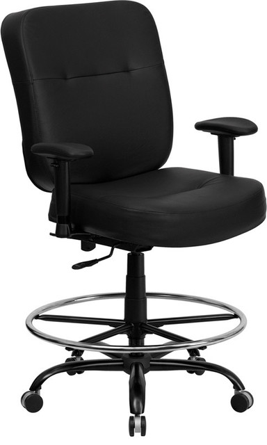 Hercules Series 400 Lb. Capacity Big and Tall Black Leather Office Chair contemporary-task-chairs
