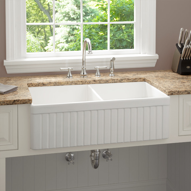 33-inch Baldwin Double Bowl Fireclay Farmhouse Kitchen Sink, Fluted Apron - Modern - Kitchen ...