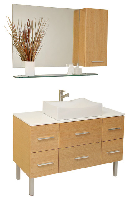 Fresca Distante Natual Wood Modern Bathroom Vanity w/Cultured Marble Countertop modern-bathroom-vanities-and-sink-consoles